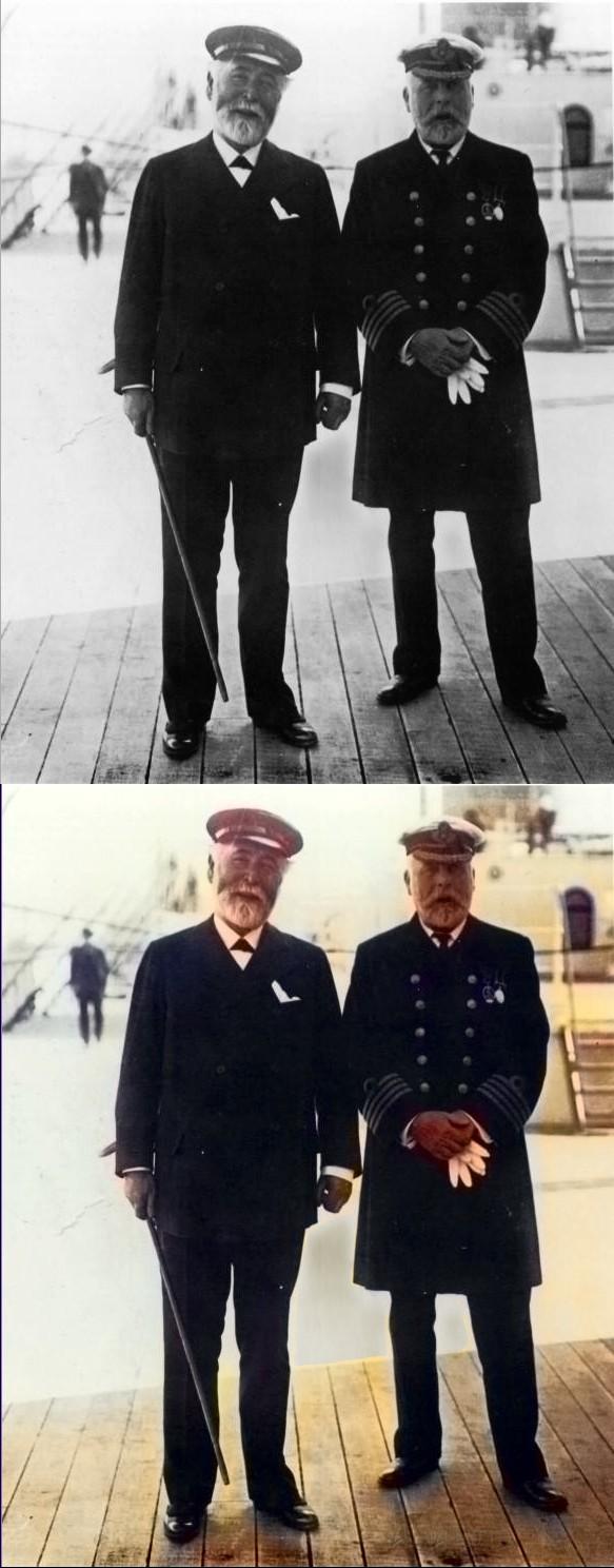 Kapitän der Titanic E.G.Smith (rechts)