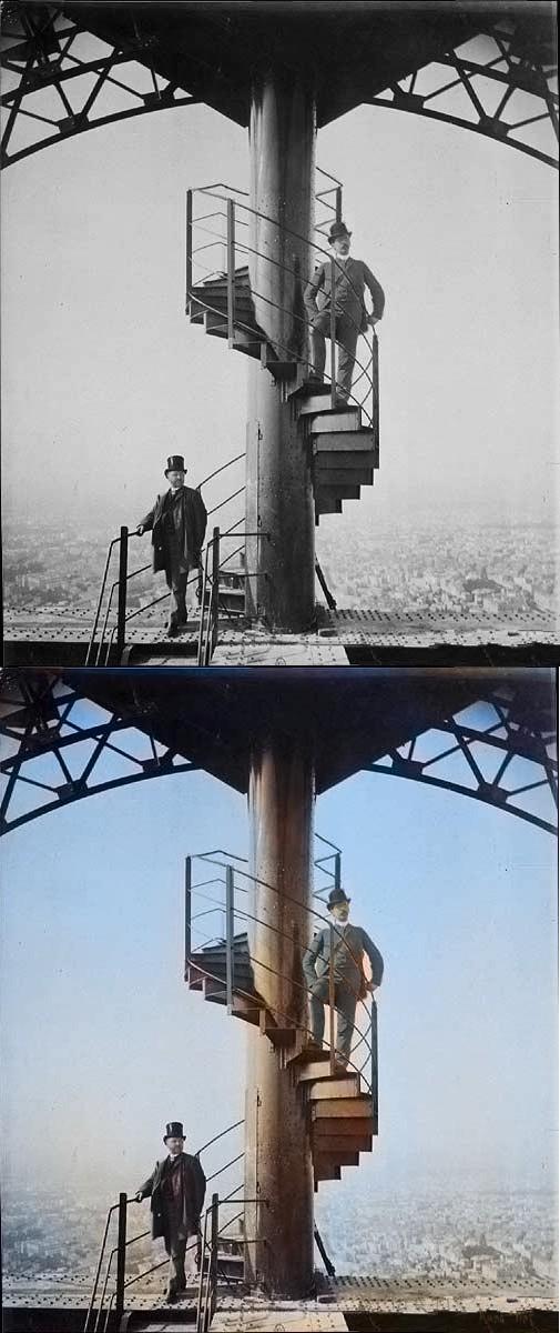 Gustav Eiffel (links) 1889 an der Spitze seines Turms