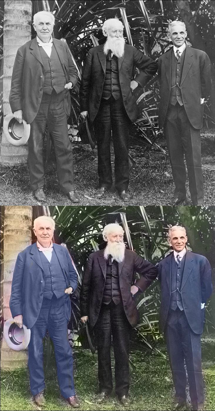 Thomas Edison, John Burroughs, Henry Ford (v.l.n.r)